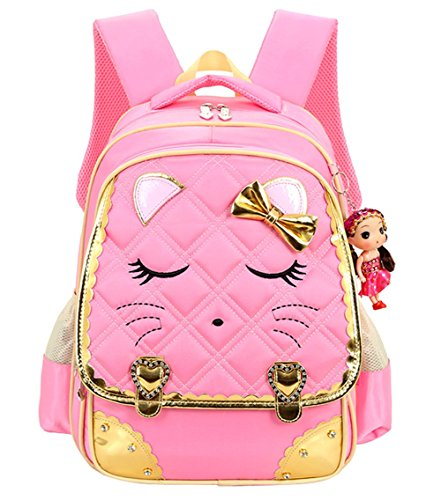 Mysticbags Cat Face Waterproof Kids Backpack School Book Bag for Primary Girls Students, Pink