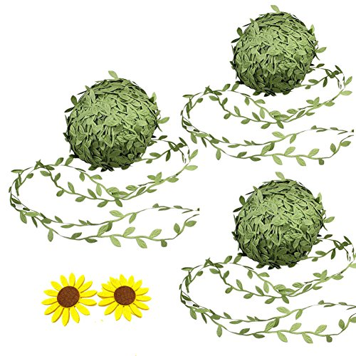 3 Rolls 20m Artificial Ivy Leaf Ribbon Fake Olive Green Vines Trim Jungle Garland with Sunflower Felt Applique for Rustic Wrapping Wedding Home Garden Decoration Craft Supplies