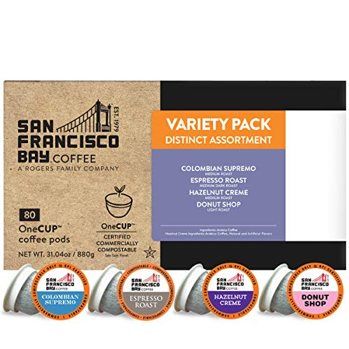 SF Bay Coffee OneCUP Assorted Variety Pack 80 Ct Compostable Coffee Pods, K Cup Compatible including Keurig 2.0 (Packaging May Vary)