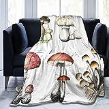 DAHALLAR Manta de Tiro Ligero Suave Cálido,Setas de Pintura lápiz Dibujado a Mano,Microfibra Toda la Temporada Sala de Estar/Dormitorio/sofá Cama edredón de Franela,40' x 50'