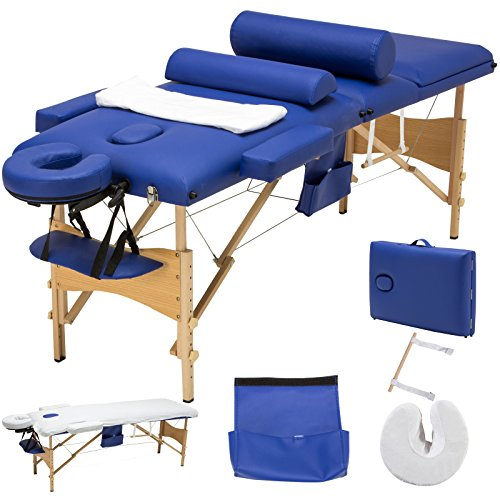 SUNCOO Portable Massage Table Folding Facial Bed Lightweight Wood Frame with Carrying Case, 3 Fold Design, Including Sheet&Cradle&Hanger (Blue)