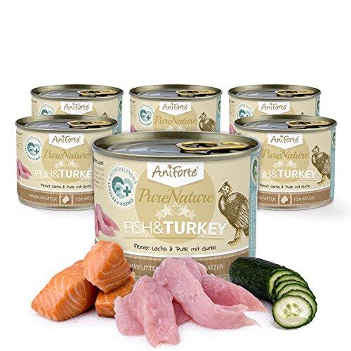 AniForte Katzenfutter Nass Fish & Turkey 6 x 200g – Nassfutter für Katzen, Frischer Truthahn & Lachs, mit Gemüse & Früchten, Natürliches Alleinfuttermittel mit Extra viel Fleisch, getreidefrei