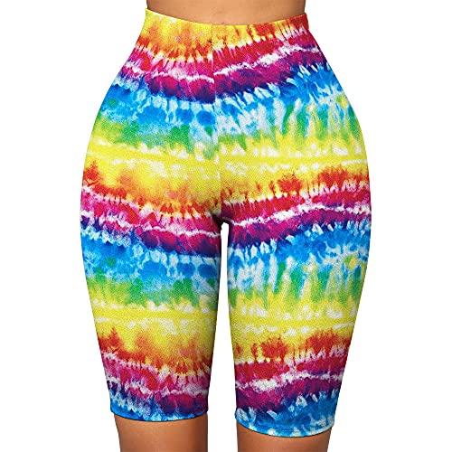 ArcherWlh Yoga Pantalones Mujer,2021 Nuevo VISTAJE 3D Impresión de Cinco Puntos Pantalones Cortos de yoga-B191-013_S