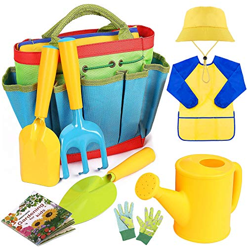 INNOCHEER Kids Gardening Tools, 9 Piece Garden Tool Set for Kids with Gardening Guide Book, Watering Can, Gloves, Shovel, Rake, Trowel, Kids Smock and Hat, All in One Gardening Tote