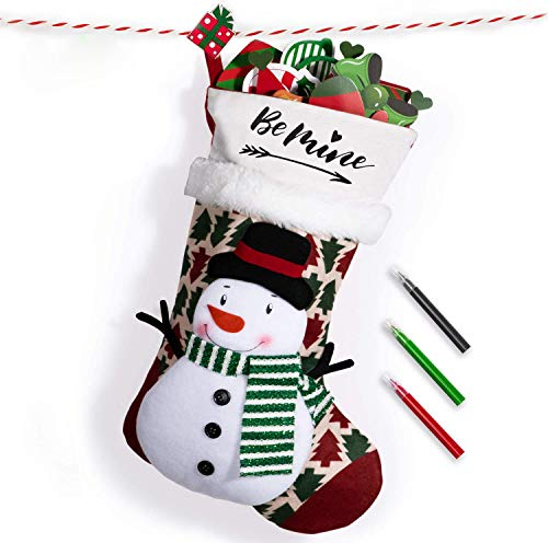 Joyjoz Nikolausstrumpf mit 3 farbigen Markierungen, 3D Handmade Personalisiert Large Weihnachtsstrumpf Nikolausstiefel Weihnachtsdekoration 53cm (Schneemann)