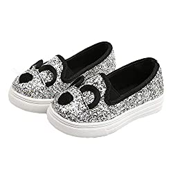 Silver Cartoon Cat Loafers With Sequins