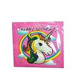 Flybuild Einhorn-Party-Dekoration, Wimpelkette, Banner, Pappbecher, mit Hut, Popcorn-Box, Kinder-Party-Zubehör & Dekorationen (1 x Happy Birthday-Banner)