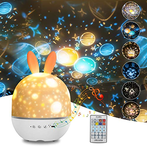 CAKKA Night Light Projector, 3 in 1 Star Projector Lamp for Kids Bedroom, Remote Control LED Ceiling Projector Christmas/ Valentine's Day / Birthday/ Galaxy / Space / Ocean Films with Musics, USB
