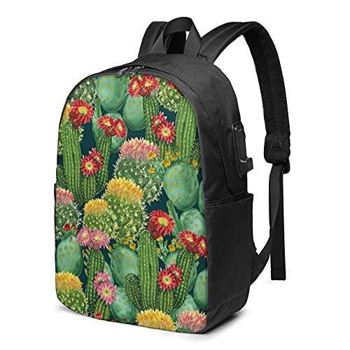Cactus Floral Bloom Mochila, Mochila de viaje con puerto de carga USB para hombres y mujeres de 17 pulgadas, ver imagen, Talla única,