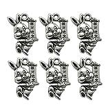 FENICAL 20 Stücke Metall Schmuckanhänger Hase Charms Anhänger Basteln DIY für Ostern Armband Halskette Schmuckherstellung Zubehör (Antik Silber)