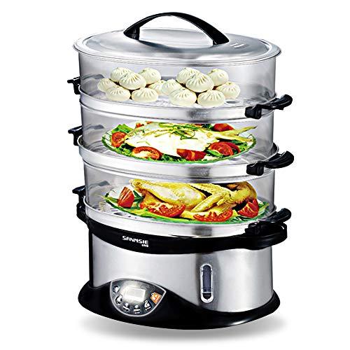 Sumlink 3-stufiger Dampfgarer, 3 Etagen, BPA-frei, elektrischer Dampfgarer, 14 l Kapazität, 6 voreingestellte Kochmodi, 99 Minuten Timer und 750 W (schwarz)