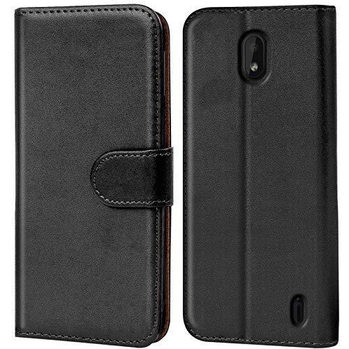 Conie Handyhülle für Nokia 1 Plus Hülle, Premium PU Leder Flip Hülle Booklet Cover Weiches Innenfutter für 1 Plus Tasche, Schwarz