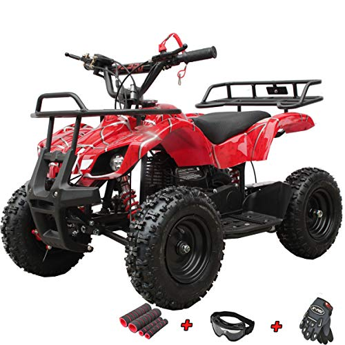X-PRO Kids ATV 4 Wheelers 40cc ATV Quads Kids Quad with Gloves, Goggle and Handgrip (Spider Red)