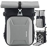 TARION XHカメラバッグ 一眼レフリュック 大容量 ロールトップ容量拡張可 安全性アップ おしゃれ パソコン収納スペース付き カメラリュックサック 一眼レフカメラ ドローンに適用 シルバー