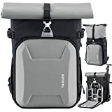 TARION XH Camera Bag Hardcase Camera Case Roll Top Camera Backpack | 15' Laptop Compartment Waterproof Raincover for DSLR Mirrorless Cameras Lens Tripod Outdoor Men Women Color Silver
