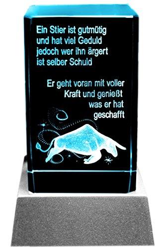Kaltner Präsente Sfeerlicht LED kaars/kristal glazen blok / 3D-lasergravure sterrenbeeld Stier
