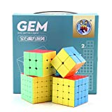 RUIGIN Geschwindigkeits-Würfel-Set 4, Edelstein-Oberfläche 2x2x2 Glatte Twisty Magische Würfel Set von 3x3x3 4x4x4 5x5x5 Cube Puzzle für Erwachsene und Kinder