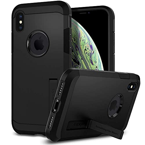 Spigen [Tough Armor] iPhone XS Case, iPhone X Case 5.8 inch with Kickstand and Extreme Heavy Duty Protection and Air Cushion Technology for iPhone XS (2018) iPhone X (2017) 5.8 inch - Matte Black