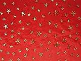 ab 1m: Weihnachtsstoff, Taft, goldene Sterne, rot, ca.