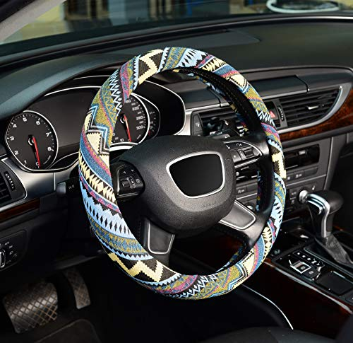 ZHOL Universal 15 inch car Steering Wheel Cover, Breathable, Anti-Slip, Odorless, Warm in Winter and Cool in Summer, Linen, Blue and Gray Twill