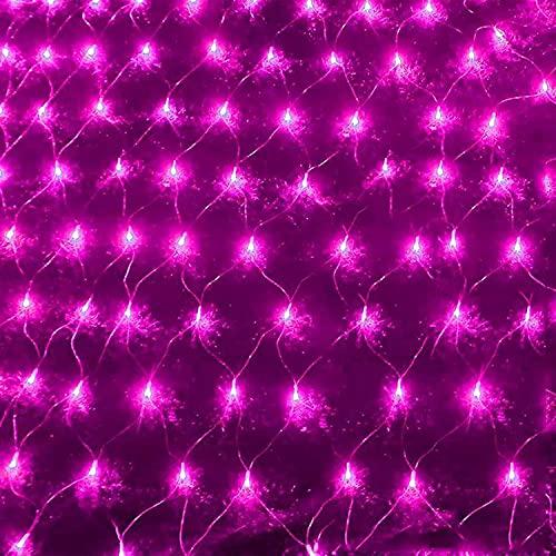 Luces netas de Halloween, luces netas al aire libre Luces de malla de jardín 6 * 4m, twinkle Cadena de luz impermeable con 8 modos for Festón Partido / Jardín / Navidad / Patio / Boda, Púrpura Guirnal