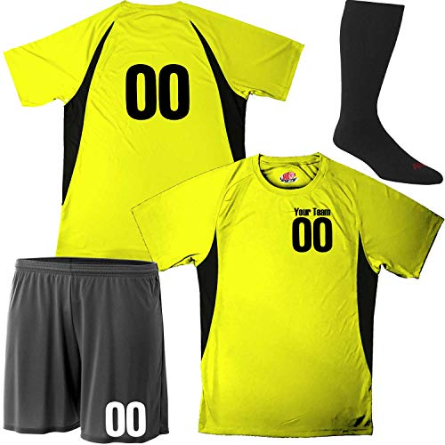 Hardkor Sports Performance Soccer Jersey Kit Personalized Youth Small Safety Yellow and Black