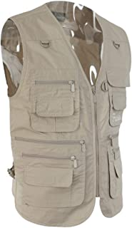 Flameer Beige Men Multi-Pocket Fly Fishing Vest Photography Travel Quick-Dry Jacket