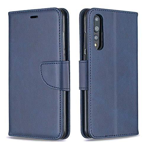 GIMTON Hülle für Huawei P20 Pro, Kratzfestes PU Leder mit Magnetisch Verschluss und Kartenfach für Huawei P20 Pro, Hochwertige Brieftasche Tasche, Blau