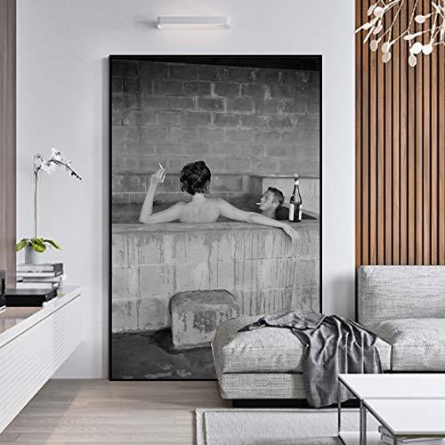 Frameloos Acteurs zwemmen Drinken wijn Posters en prints Canvas en Wall Art Pictures voor de woonkamer Decoratieve foto60x100cm