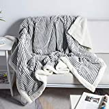 DISSA Sherpa Fleece Blanket Reversible Sherpa Flannel Blanket Soft Fuzzy Plush Fluffy Blanket Warm Cozy with Strip Perfect Throw for All Seasons for Couch Bed Sofa Chair (Black, 51'x63')
