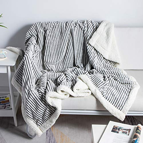 DISSA Sherpa Fleece Blanket Throw Blanket Soft Blanket Plush Fluffy Blanket Warm Cozy with Black and White Strip Perfect Throw for All Seasons for Couch Bed Sofa Black 51quot x63#039#039