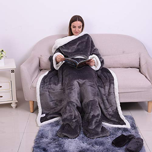 Shop LC Delivering Joy Gray Solid Flannel White Sherpa Blanket with Sleeves Foot Pocket Lightweight Comfortable Durable Ultra Soft Winter Warm Wearable Throw