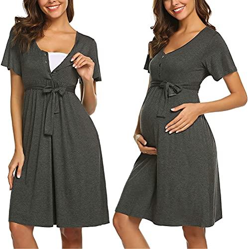 ADOME Frauen Pflege/Geburt/Krankenhaus Nachthemd Kurzarm Nachthemd Umstandsnachthemd mit Knopf Stillnachthemd für Schwangere und Stillzeit, B-grau, S
