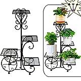 Metal Plant Stand - Flower Pot Holder Shelf 4 Tier Corner Display Rack Wrought Iron Planter Vertical Shelves Organizer for Garden Indoor Outdoor Patio Black