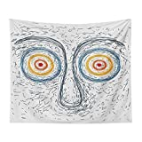 Mozenou Wall Art Tapestry - Confused Man Portrait Human Face with Large Hypnotic Eyes Trance Hand Drawn - Bedroom, Family Dormitory, Fun Gifts,59x83 Inch