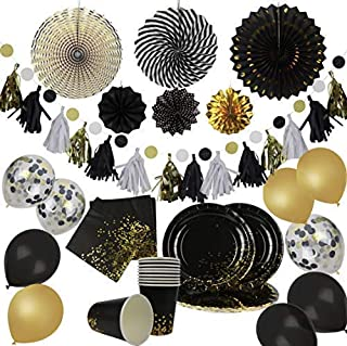 Party Chic Black and Gold Dot Party Pack Disposable Gold Foil 10 Dinner Plates 10 9 oz Cups 10 Napkins Decorations 6 Party Fans 1 Polka Dot DIY Tassel Garland 9 Latex Balloon Wedding Birthday