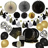 Party Chic 46 Pieces Black and Gold Party Pack | Disposable Gold Foil...