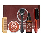 Care Kit crecimiento de la barba kit de recorte de barba y estética del pelo fijados barba Peine Cepillo Estimular crecimiento de la barba con la regla shape regalo para los hombres