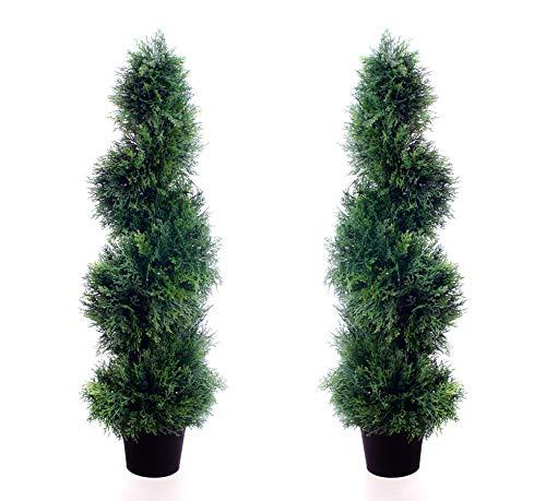 2 Mejor Artificial 90cm 3 pies Cedar espiral árboles alt Boj Buxus