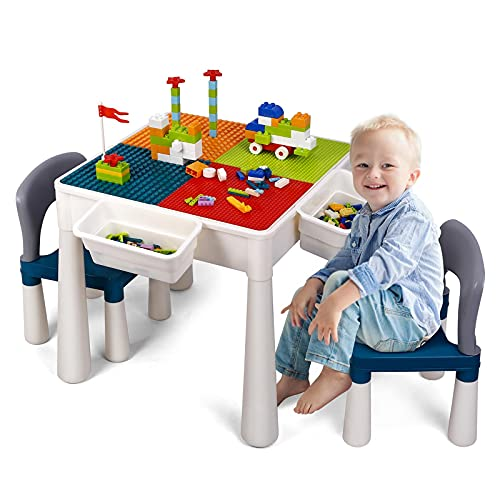Amzdal Tavolo multiattività per bambini, tavolo da gioco e 2 sedie, blocco per bambini, con blocchi di particelle grandi e piccoli