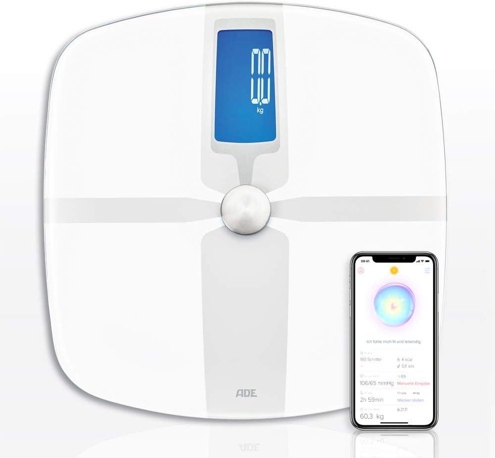 ADE Básculas de grasa corporal BA, báscula con aplicación Bluetooth para análisis de peso, grasa corporal, agua corporal, masa muscular, IMC