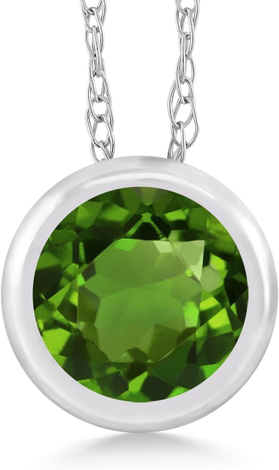 0.50 Ct Round Green Chrome Diopside 14K White gold Pendant With Chain