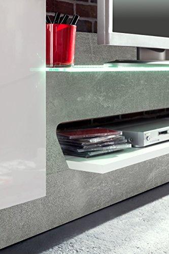 trendteam AR00235 Wohnwand TV Möbel Weiß Glanz, Absetzung Grau Beton Nachbildung, BxHxT 261x147x47 cm - 3