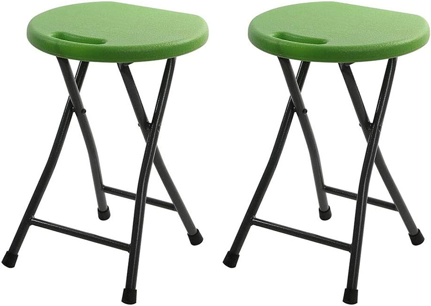Dall Folding Stool High Chair Round Iron Tube Breakfast Kitchen Bar Stool Furniture Compact Pack-2 (color   Green1)