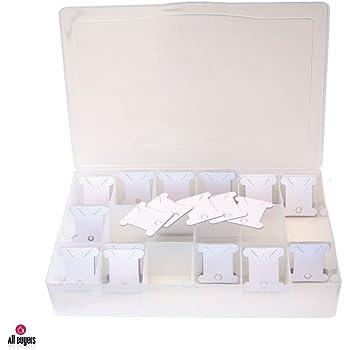 Caja portamadejas para carrete de costura incluye 100 mariposas,Hilo de coser Caja para hilos de costura Organizador Caja de Almacenamiento para Bolillos 100 Bobinas mariposas - 2AINTIMO®: Amazon.es: Bricolaje y herramientas