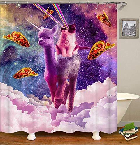 不适用 Blaue gelbe Sternenhimmeluniversum weiße Wolke verträumte lila Einhornkatze Pizza Duschvorhang Badezimmer Vorhang Dekoration Wasserdichten Stoff