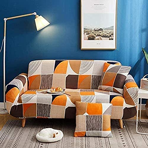 nordmiex Stretch Sofa Slipcovers Fitted Furniture Protector Printed Sofa Cover Stylish Fabric Couch Cover with 2 Pillowcases for 3 Cushion Couch(Sofa-3 Seater,Orange Geometric)
