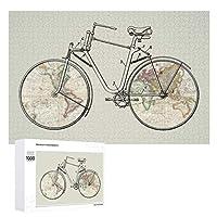 INOV ヴィンテージ 自転車 パテント 芸術 世界地図 ジグソーパズル 木製パズル 1000ピース インテリア 集中力 75cm*50cm 楽しい ギフト プレゼント