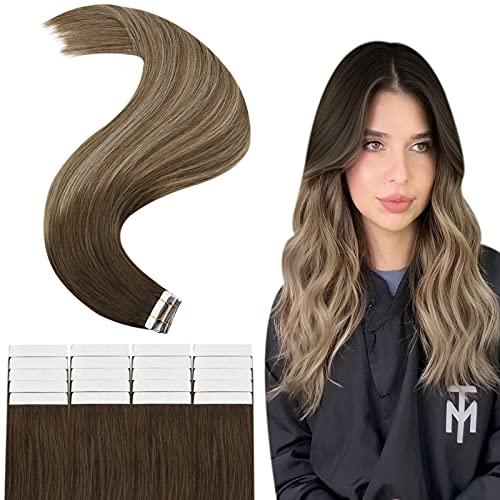 Sunny Extension Tape Adhesive Naturel Cheveux Humain Skin Weft Invisible Tape in Extensions Marron Foncé a Brun Doré Mixte Blond Doré #4/10/16 20Pouces 20pcs/50g