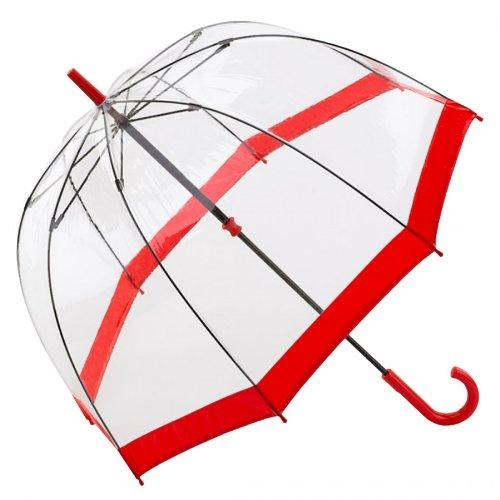 Fulton Regenschirm Glockenschirm transparent/durchsichtig, Farbe:rot